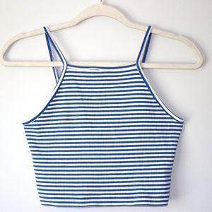 Forever 21 - Blue & White Crop halter top